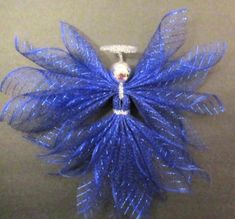 Silver Ornaments, Angel Ornaments, Christmas Angels, Christmas Crafts, Writing Thank You Cards, Handmade Angels, Angel Crafts, Tree Toppers, Deco Mesh