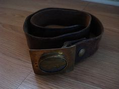 Vintage 1970s Leather Belt Agate Brass Buckle 30 by bycinbyhand, $30.00