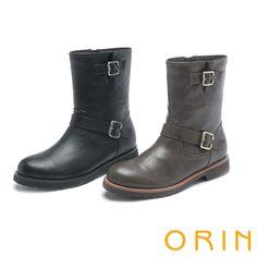 $2480.ORIN 粗曠中性帥氣 側邊拉鍊造型皮帶騎士低跟靴-黑色 - Yahoo!奇摩購物中心(12/25:黑10.灰10)