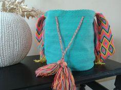 Aquamarine mochila wayuu. Indigena colombian art.