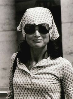 jacqueline kennedy onassis w/ patterned headband and sunglasses