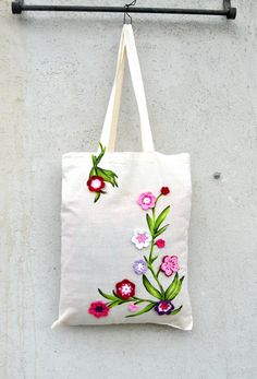 Shopper tote Cotton bag with Pink Crochet Flowers 3d and Handpainted Fabric for Spring Shopper MArket special gift for mom