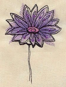 "Painted Flower 1 | Urban Threads: Unique and Awesome Embroidery Designs (#UT4990) 2.72""w x 3.82""h 3 July 2012"