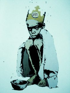 Burger King, by Banksy Street Art Banksy, Banksy Art, Bansky, Stencil Graffiti, Graffiti Art, Art Intervention, Street Installation, Outdoor Art, Street Artists