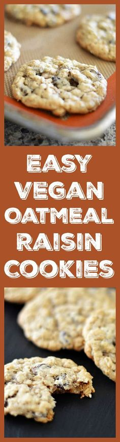 Easy Vegan Oatmeal Raisin Cookies - This recipe may not be groundbreaking or glamorous, but sometimes you just want Easy Vegan Oatmeal Raisin Cookies, and I am here to help you out! :) #vegan #vegancookies #oatmealraisincookies #veganoatmealraisincookies Get the recipe here ---> https://theveglife.com/easy-vegan-oatmeal-raisin-cookies/