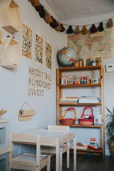Our tiny apartment school corner Home Learning, Learning Spaces, Toddler Learning, Toddler Activities, Learning Activities, Room Tour, Kid Spaces, Play Spaces, Classroom Decor