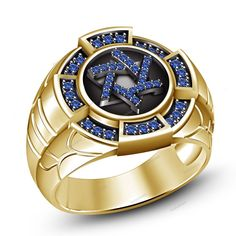 Blue Sapphire Jewish Star In 14K Yellow Gold Finish Men's Ring 925 Silver 7 8 9…