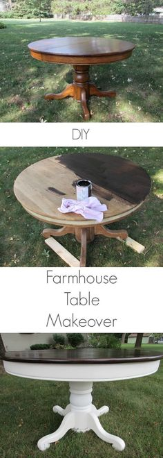 I love this DIY Farmhouse Table Makeover! Step by step instructions on how to makeover your table into a farmhouse table. I love this DIY Farmhouse Table Makeover! Step by step instructions on how to makeover your table into a farmhouse table. Refurbished Furniture, Paint Furniture, Repurposed Furniture, Furniture Projects, Furniture Makeover, Furniture Stores, Diy Projects, Bedroom Furniture, Furniture Outlet