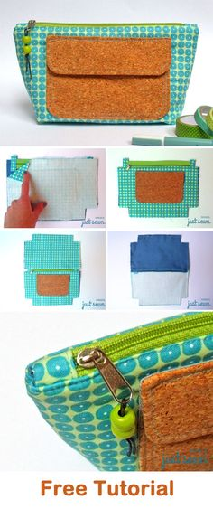 Easy Cosmetics Bag Tutorial. Free pattern, quick and easy to sew   http://www.free-tutorial.net/2018/05/makeup-bag-tutorial.html