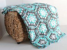 Afghan Handmade Snowflake Hexagon Crochet by SnugableTouches