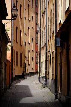 Back street of Galma Stan, old town of Stockholm, Sweden.