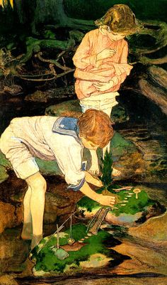 "This was ME as a child. I made little settlements all over my parents' yard and especially each summer at my grandparents' cottage on the lake. There was a tiny stream that ran by the cottage and I would spend hours building miniature worlds there.  ""Making Islands, Elizabeth Shippen Green"""