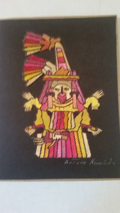 """Vintage Mexican Straw Painting Aztec Calendar Month of November To Be Framed Artwork Artisan Made Folk Art Ochpaniztli Aztec God  6"""" x 4"""" by ZoomVintage on Etsy"""