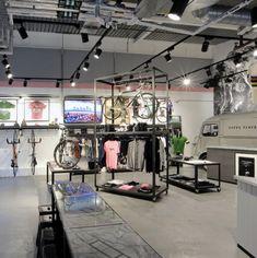 Rapha Cycle Bike Shop - caster wheels displays
