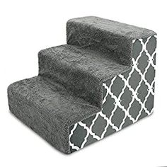 nice Best Pet Supplies USA Made Pet Steps/Stairs with CertiPUR-US Certified Foam for Dogs & Cats Gray Lattice Print, 3-Step (H: 13.5″) (ST255C-S) Relieves Stress: Our stairs are the perfect accessory to help pets reach that high bed or couch! Available in 3-step, 4-step, and 5-step configurations to easily match your furniture's height. Supports Pet Health: Made with mattress-grade cushioning t... Stairs Covering, Cat Stairs, Dog Steps, Cat Cushion, Cat Dog, Dog Blanket, Old Dogs, Dog Supplies, Dog Leash