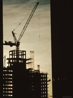 Silhouette Crane at a Skyscraper Construction Site, New York Photographic Print by Ira Block at Art.com