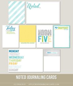 This set of eight digital journaling cards is perfect for scrapbooking and pocket pages!