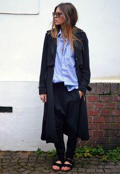 black birkenstocks, slouchy black pants