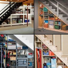 unfinished basement storage ideas. Here are some great tips to store your stuff that will help you organize  storage spaces create more functional areas Great Ideas for Unfinished Basement Space staircase