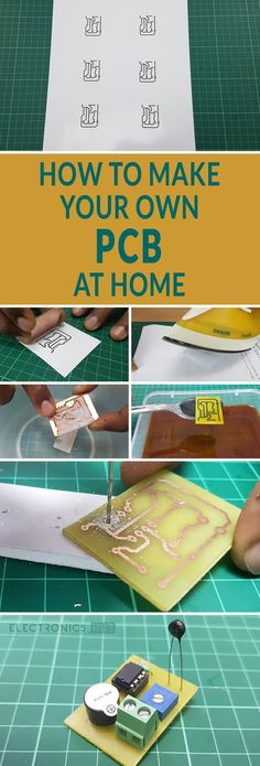 A tutorial on How to make your own PCB at Home using Toner Transfer Method. DIY own PCB (Printed Circuit Board) using Copper Board, Toner, iron. Electronics Projects, Hobby Electronics, Electrical Projects, Electronics Gadgets, Organize Electronics, Electronics Components, Electrical Components, Engineering Projects, Engineering Technology