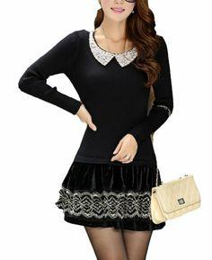 $46.18 nice Doll Collar Long Elastic Lace Sweater Dress Turtleneck Sweater