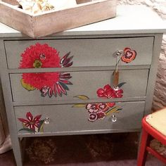 pretty fresh decoupaged floral chest of drawers. Painted by Home Revival Interiors