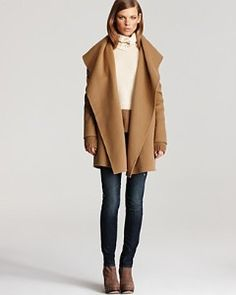 Vince Double Face Wool Hooded Drape Jacket and skinnies
