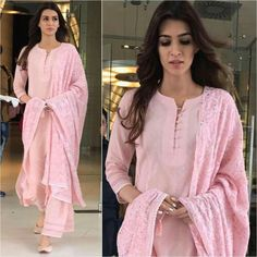 Kriti Sanon Outfit & Juttis - Styled by -sanon # beautiful # pink # simple palazzo and kurtaDress Casual Pink Simple For may contain: 2 people, people standingFind dresses for first date. Choose from top 10 first date look ideas and buy you Designer Kurtis, Indian Designer Suits, Punjabi Suits Designer Boutique, Boutique Suits, Designer Salwar Suits, Kurti Neck Designs, Salwar Designs, Blouse Designs, Plain Kurti Designs