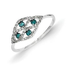 14k White Gold w/ Blue and White Diamond Fancy Ring - QGY10742AA - KevinJewelers.com