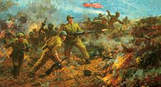 North Korean troops charging into battle Ww2 History, Poster Pictures, Korean War, Weird And Wonderful, Military Art, Cold War, Illustration, Artwork, Troops