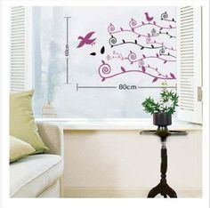 Wall Decals - YYone Birds with Purple Black Wall Decal Sticker