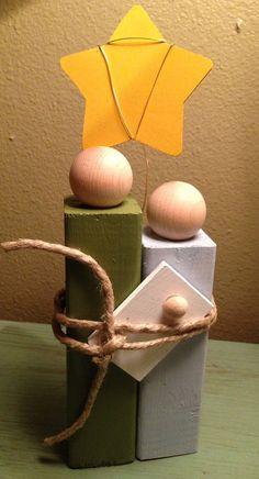 Handmade Wooden Block Nativity on Etsy, $10.00