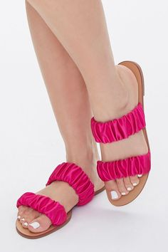 While Supplies Last Satin-Strap Flat Sandals in Pink, Size 7.5 #shoes #fashions Flat Sandals, Flats, F21, Shoe Sale, Open Toe, Women Accessories, Espadrilles, Size 10, Slip On