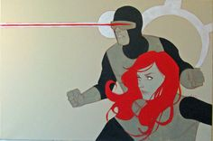 """The Stranger Factory is hosting """"The Art of the Narrative"""" curated by Jimmy Palmiotti... """"Scott and Jean"""" by Phil Noto features X-Men founding characters Scott Summers aka Cyclops and his deceased spouse Jean Grey in an acrylic on canvas with compositional roots in Bay Area figurative painting."""