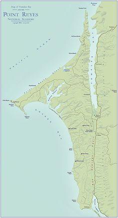 Map of Point Reyes National Seashore & Tomales Bay, California