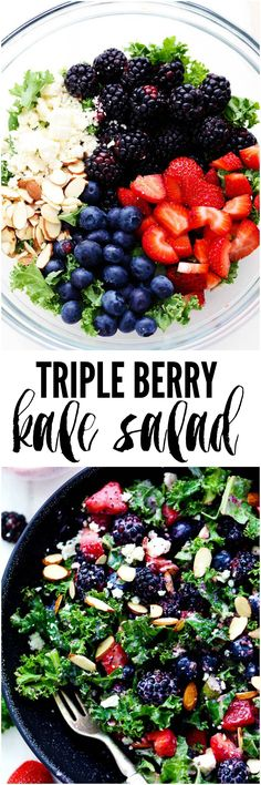 Triple Berry Kale Salad with Creamy Strawberry Poppyseed Dressing is made with delicious fresh summer berries and is tossed with kale, crunchy almonds and topped with feta cheese. A healthy and light salad that is perfect for summer! Tweak to make keto Kale Recipes, Healthy Salad Recipes, Whole Food Recipes, Healthy Snacks, Vegetarian Recipes, Healthy Eating, Cooking Recipes, Jalapeno Recipes, Coctails Recipes
