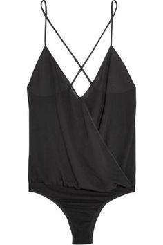 Wrap-front silk-chiffon bodysuit #covetme #kikidemontparnasse