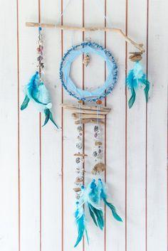 Large dream catcher, Large blue driftwood dreamcatcher, Wall hanging dreamcatcher, handmade dreamcatcher, Shell home decor, Sea dreamcatcher