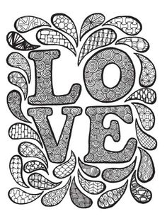 Coloring and Zen Doodle LOVE! Art by Tiffany Lovering #ZenDoodle #coloring…