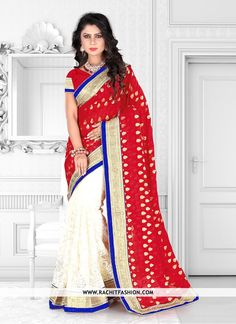 Buy Admirable Viscos Designer Saree In Red and Beige Colour only at #rachitfashion --> http://www.rachitfashion.com  #viscos #designerfashion #style #womenswear #clothing
