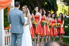 Persimmon dresses, gray tux