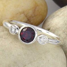 $459 Red Imperial Garnet and White Sapphire 3 Stone 14K by ChadaSoph on etsy #etsy #jewelry