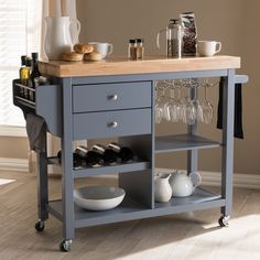 Baxton Studio Sunderland Coastal & Farmhouse Grey Wood Kitchen Cart - versatile and stylish Sunderland kitchen cart is perfect for a busy host. The Sunderland's calming coastal and farmhouse design belies its many helpful features. Two pull-o Kitchen Furniture, Home Furniture, Kitchen Decor, Furniture Removal, Kitchen Ideas, Luxury Furniture, Cheap Furniture, Furniture Dolly, Kitchen Trends