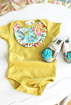 mustard and floral onesie