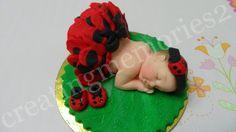 FONDANT BABY TOPPER  edible ladybug tutu cake baby by anafeke2