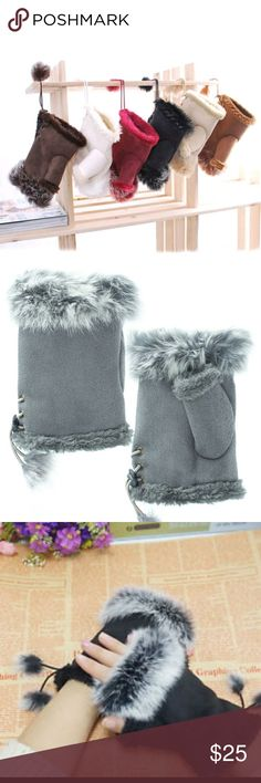 👐Soft Fingerless Gloves😀 Super soft fur lined fingerless gloves with real rabbit fur around top. One Size Six pairs 2-Black 2-Gray 1-Cream 1-Animal Print Individually packed in its own bag. Let me know color when purchasing. New Other