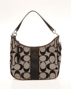 Coach Signature Stripe Convertible Hobo Handbag Black White