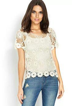 Crochet t shirt forever 21 spring 2014