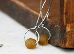 Simplicity. (African glass and silver earrings - recycled glass earrings - sterling silver earrings)