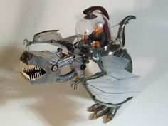 Recycled Tea Rex in art  with wings Upcycled Toys steam punk Sculpture Recycled polymer clay Metal flying dinosaur Assemblage